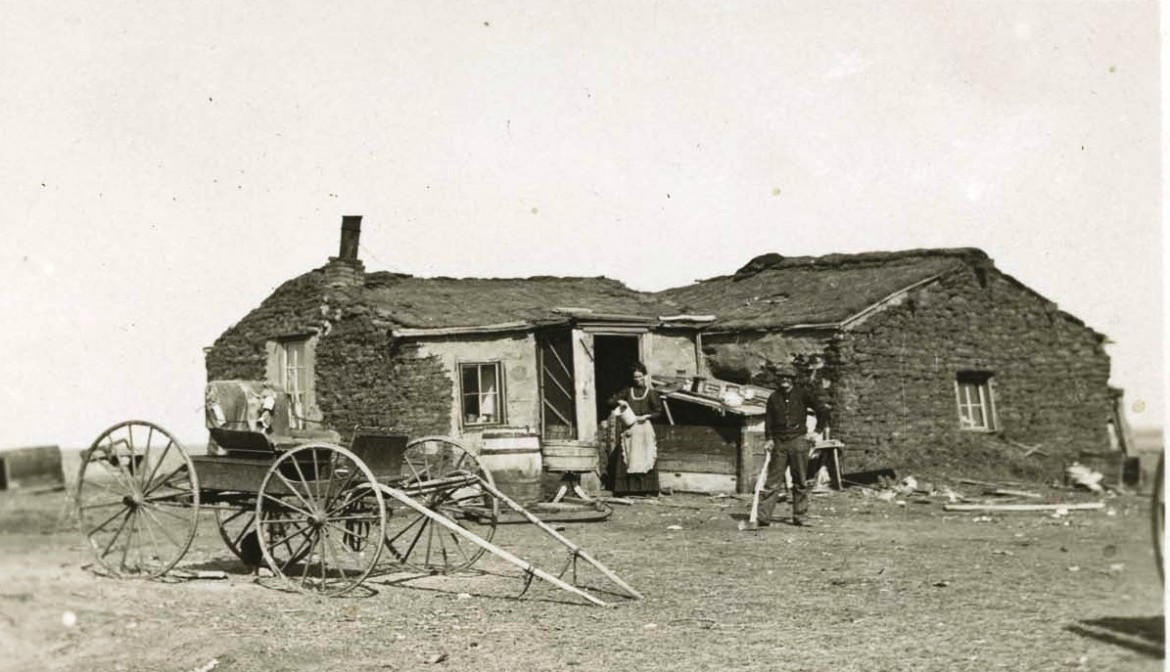 Typical sod house built by homesteaders in the Dakota Territory. Peter and Apollonia Stoltz and their children would have lived in a similar house.