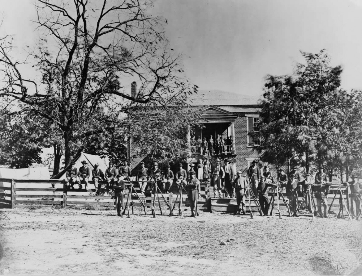 Union soldiers outside the McLean House, where the Confederate surrender was signed