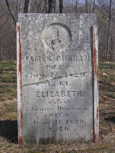 Gravestone of James Dunham (1758-1829) and Elizabeth Robbins (1758-1820) in Carmel, Penobscot, Maine
