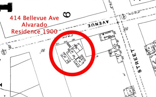 Close-up of 1900 Sanborn Map location and schematic of Alvarado residence