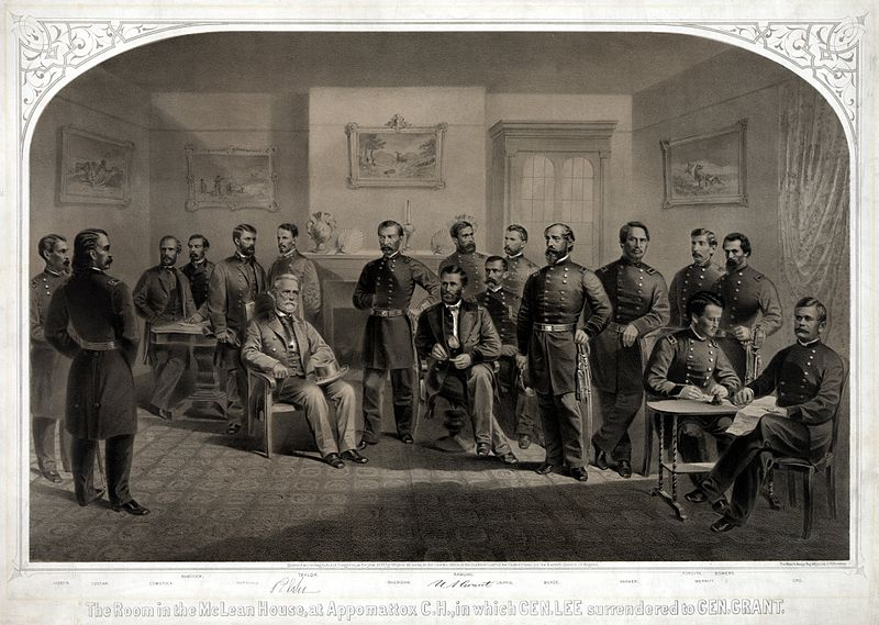 Lee surrendering to Grant at Appomattox Courthouse