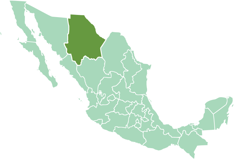 Location of Chihuahua State in modern México