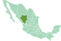 Location of Durango State in modern México