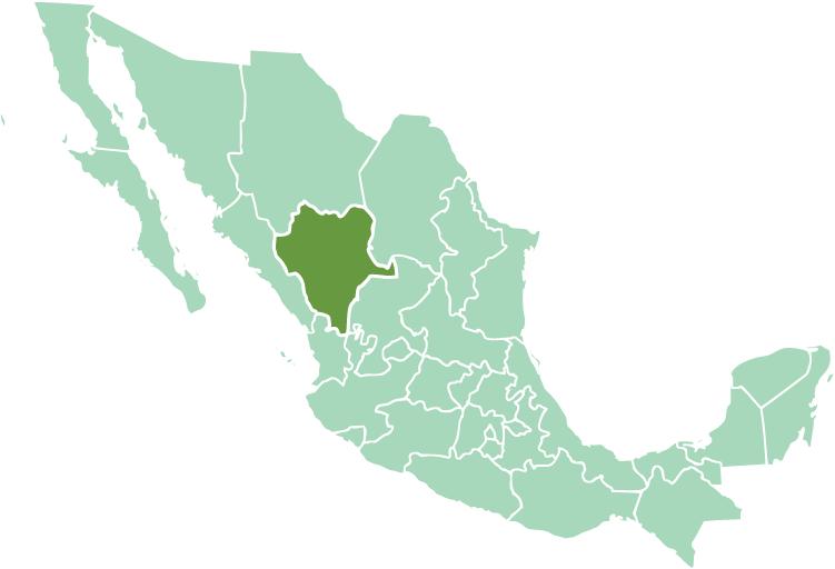 Location of Durango State in modern México