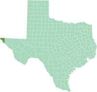 Location of El Paso County in Texas
