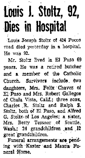 Obituary of Louis Stoltz, El Paso Herald Post, 4 Nov 1958