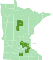 Location of counties in Minnesota significant in Stoltz family history