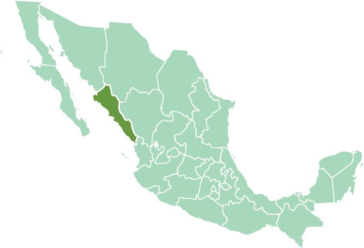 Location of Sinaloa state in modern México
