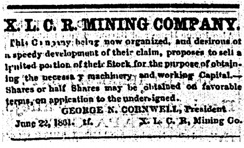 Advertisement for the XLCR Mining Company