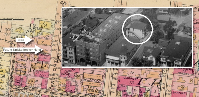 Superimposed is detail of 1925 view of Fremont Street from USC Digital Archive