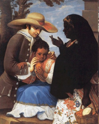 De español y negra, mulata (From Spaniard and Black, Mullato) detail of casta painting by Miguel Cabrera, 1763.