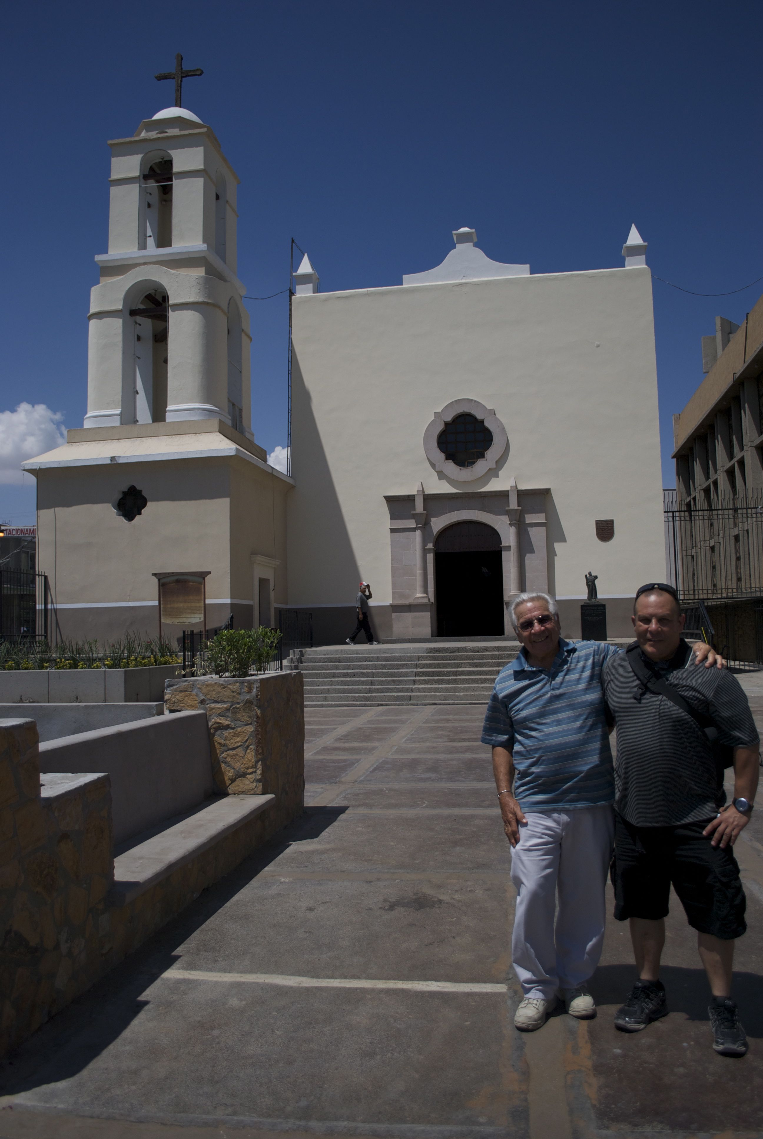 George Philip Stoltz and George Charles Stoltz at the Guadalupe Mission, Juárez, 2013