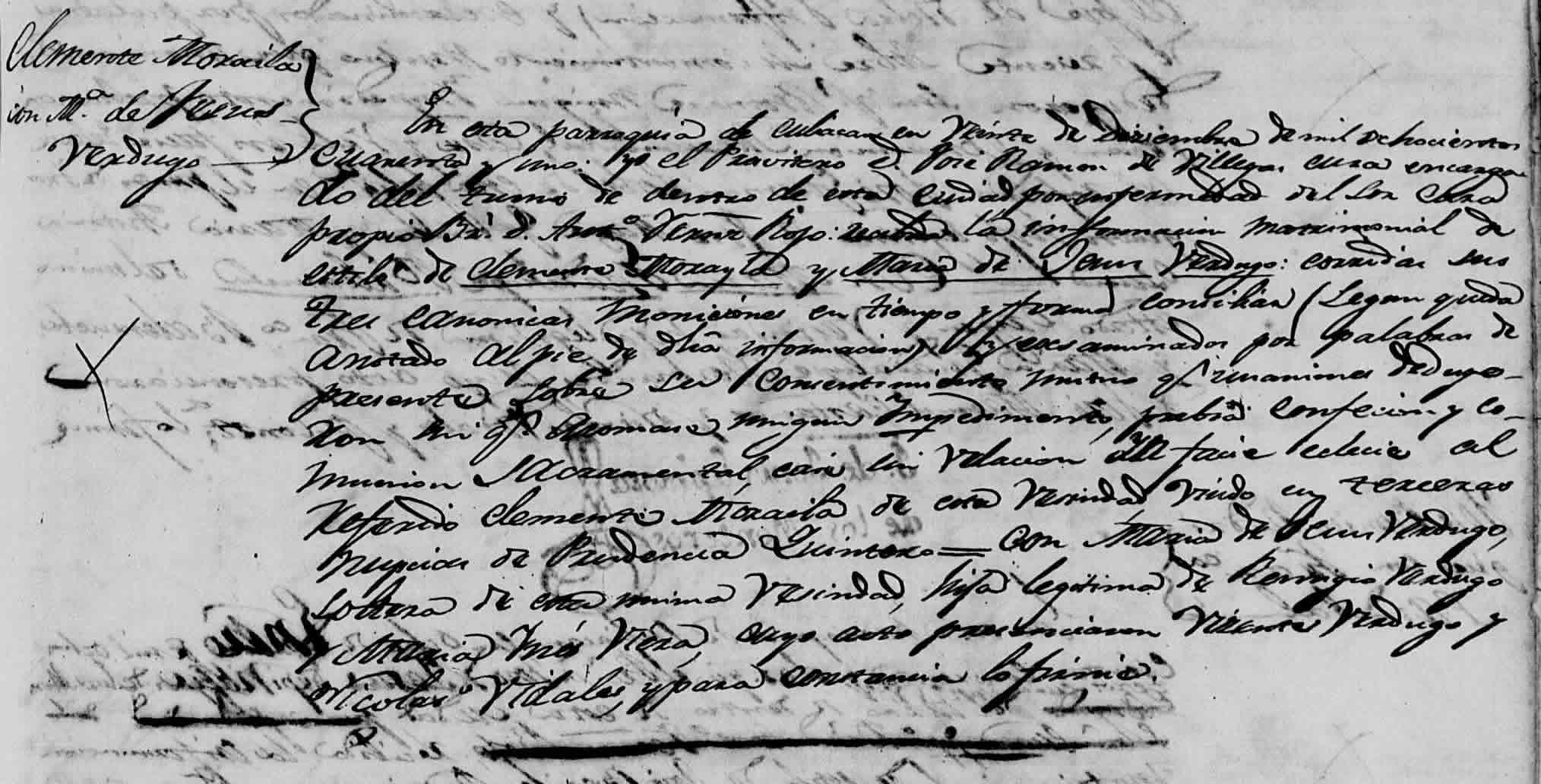 Marriage Record of Clemente Moraila and María de Jesús Verdugo from the Cathedral of San Miguel, Culiacán