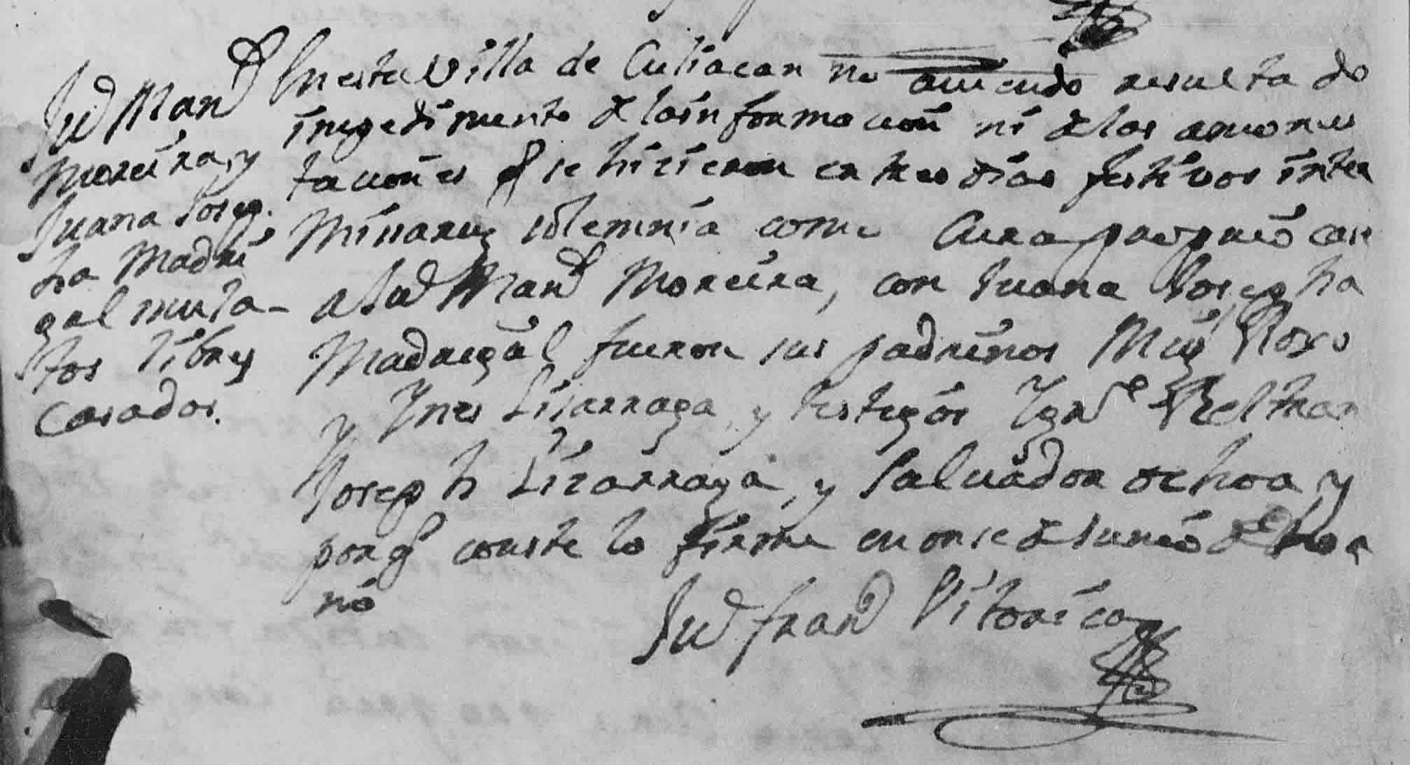 Marriage record of Manuel Moraila and María Juana Josefa Madrigal, 2 Mar 1752