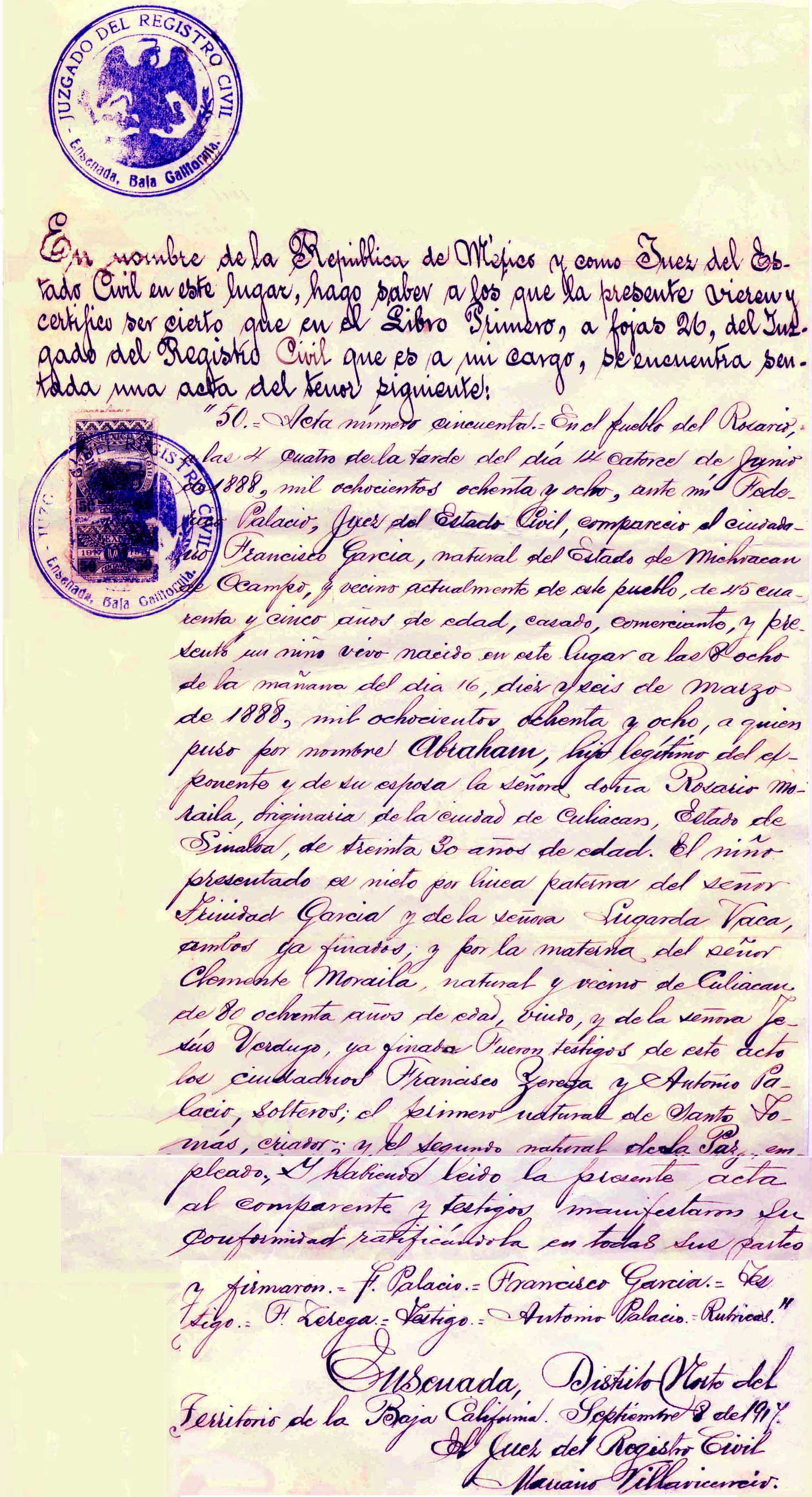 Birth Certificate of Abraham Mendez García