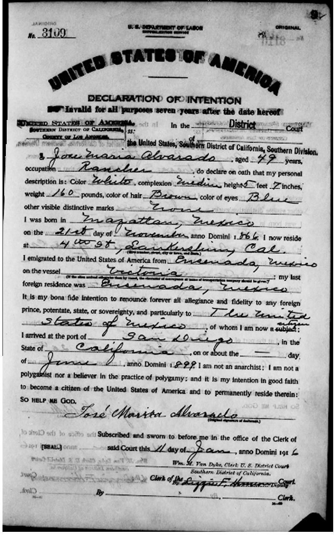 José María Alvarado Declaration of Intention
