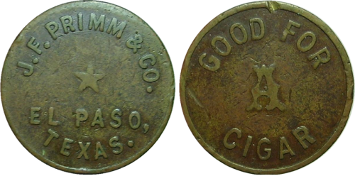 Token from J. F. Primm & Co. Cigars and Billiard Parlor, 207 E. San Antonio, where Louis Stoltz worked
