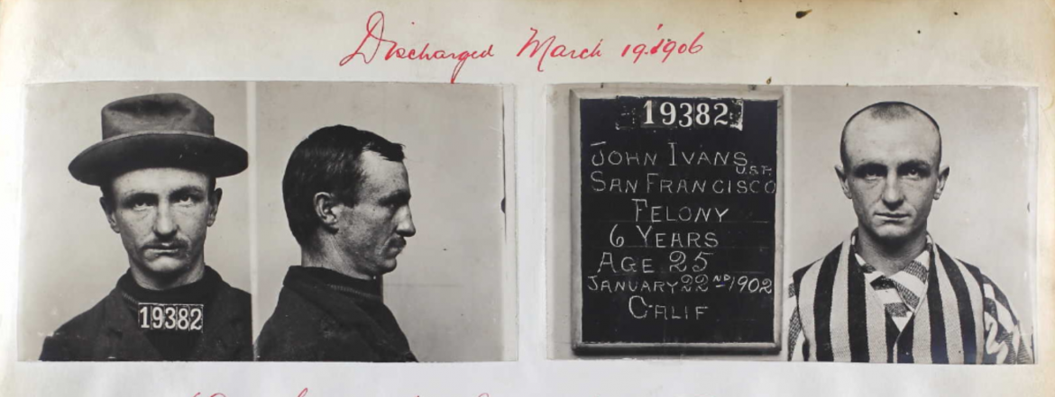 San Quentin Admission and Discharge Photographs of John E. Ivans