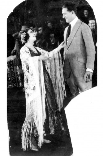 Jovita Garcia Higgins on set with an unidentified director