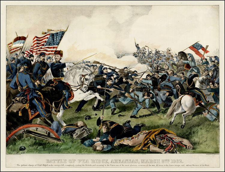 Battle of Pea Ridge, Arkansas, March 8th 1862, Currier & Ives, New York, 1862