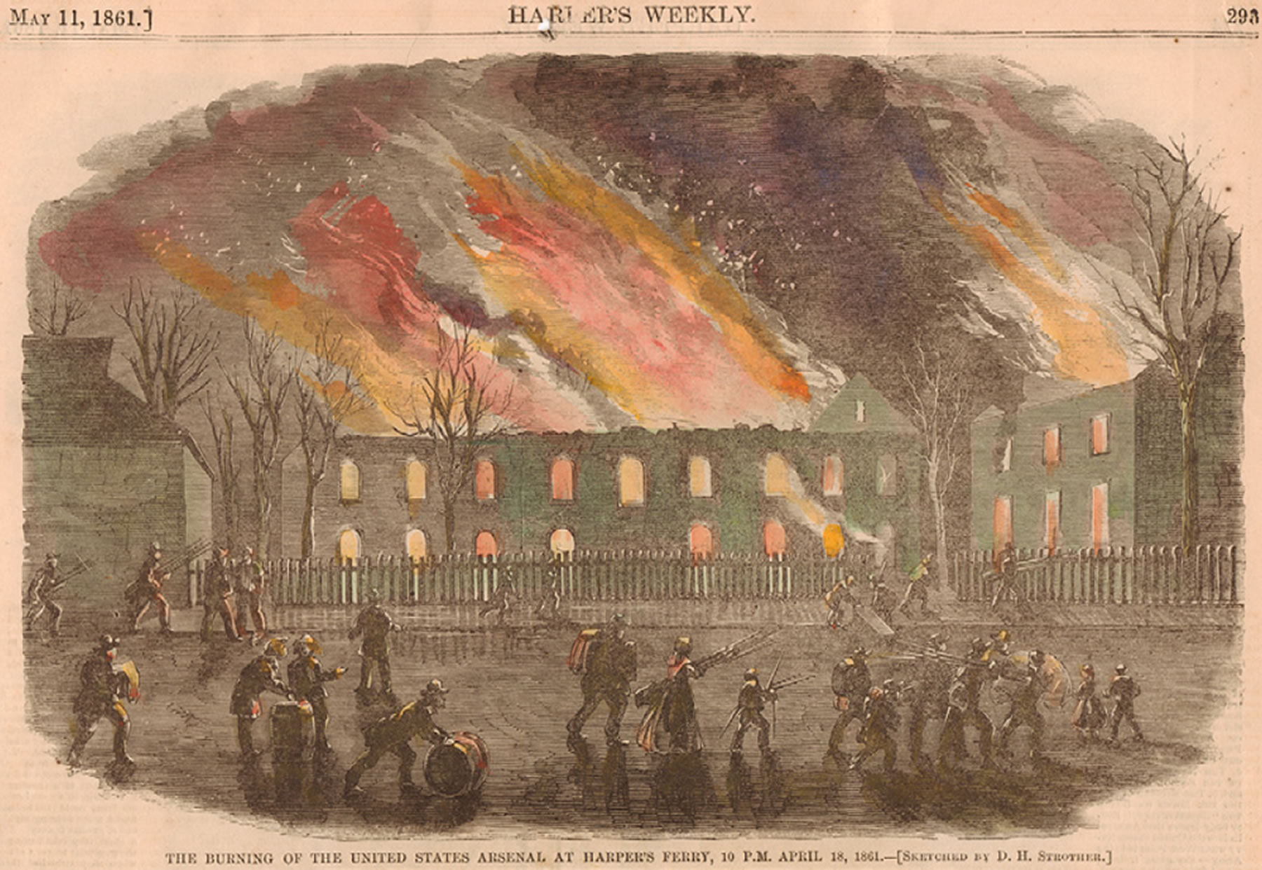 Burning of the arsenal at Harper's Ferry, David Hunter Strother, Harpers Ferry National Historical Park