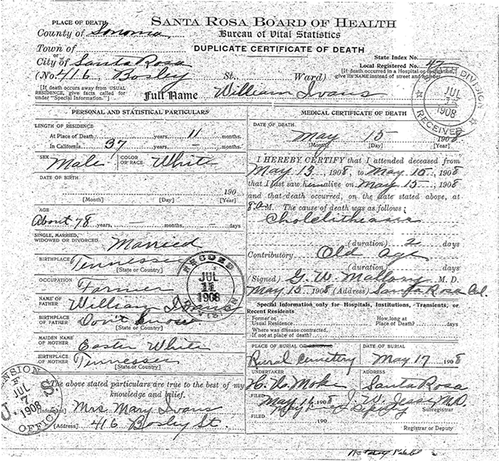 Death Certificate of William Ivans, Santa Rosa Board of Health