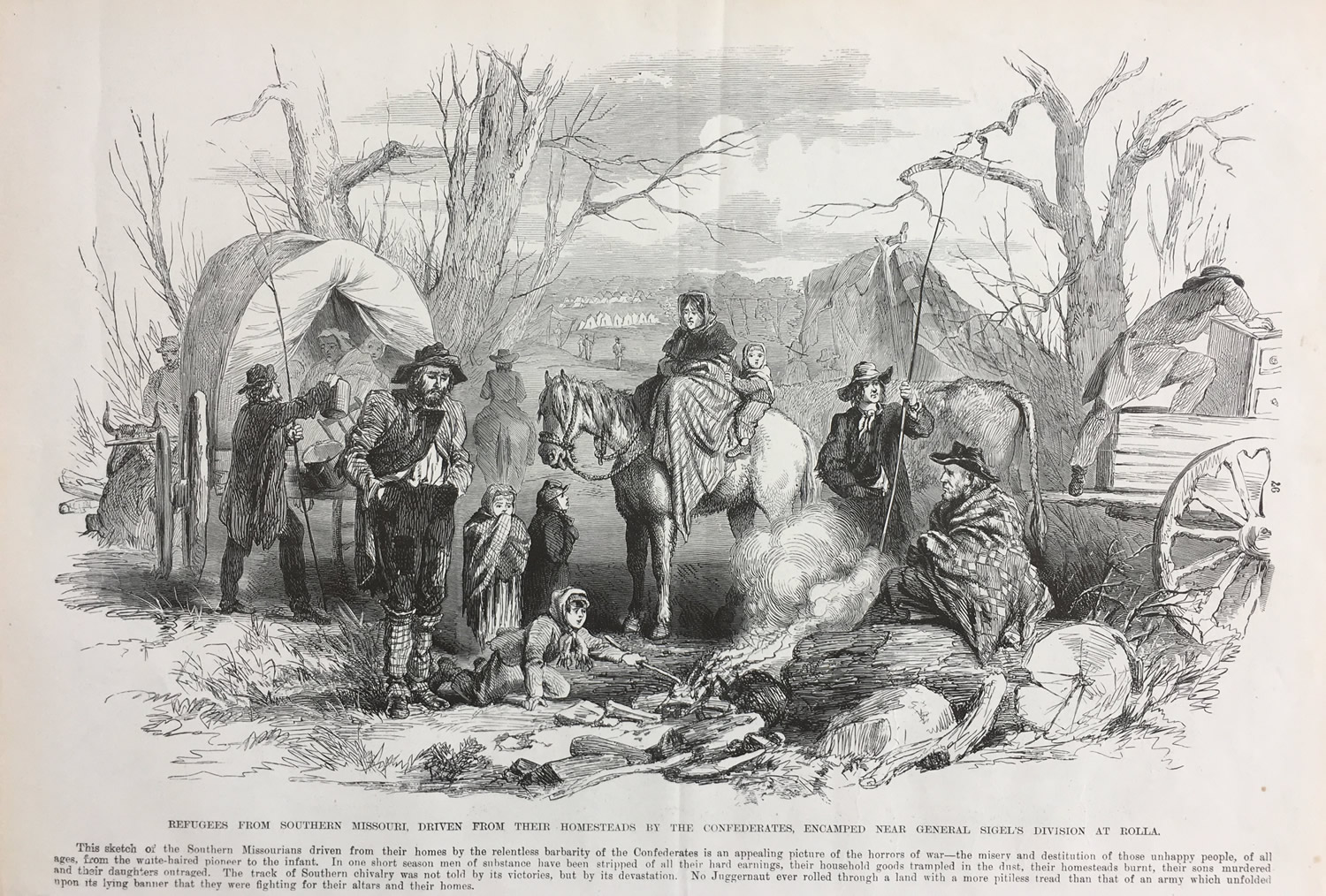 Refugees from Southern Missouri, Frank Leslie's illustrated History of the Civil War, 1895, Collection of Eric Stoltz