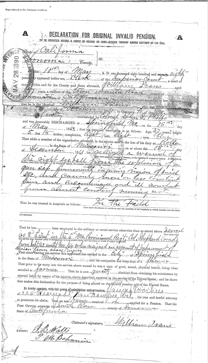 William Ivans pension document 1a