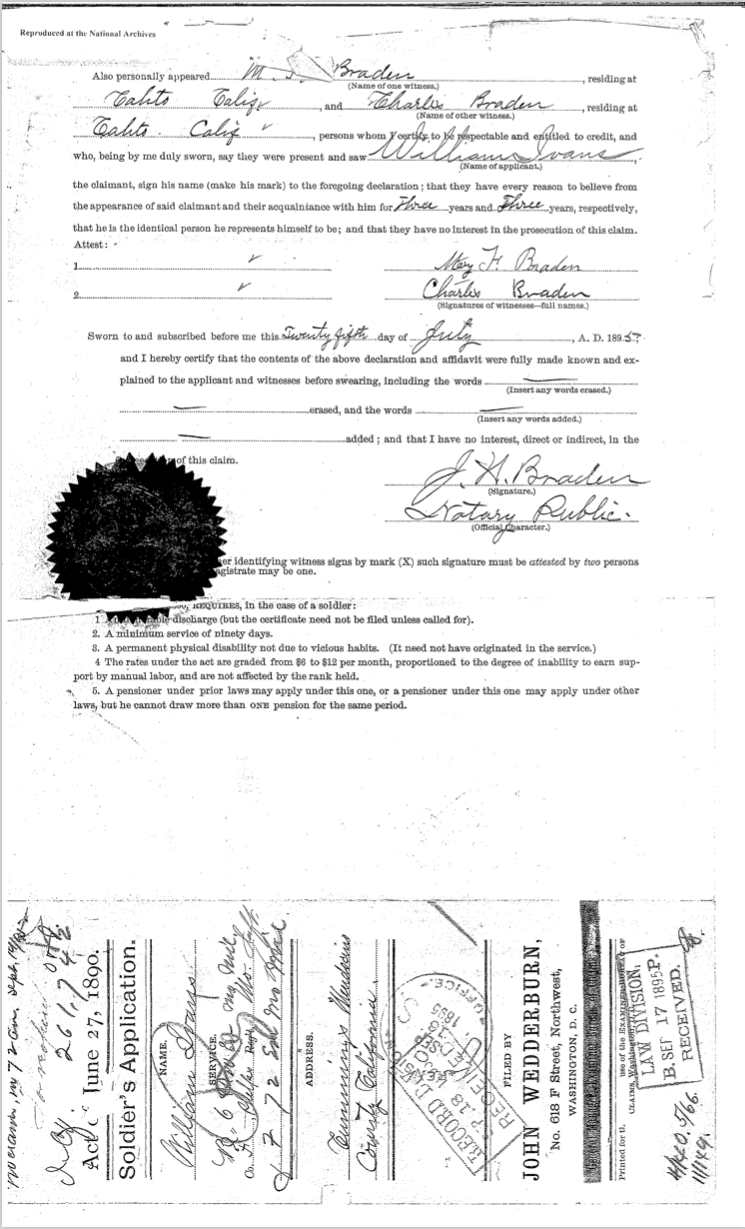 William Ivans pension document 2b
