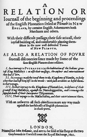 Frontispiece, Mourt's Relation, published in London, 1622, courtesy Wikipedia