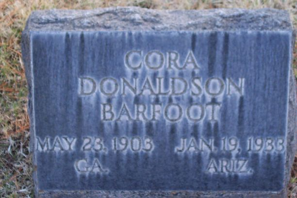 Grave of Cora Donaldson Wood Barfoot, courtesy findagrave.com
