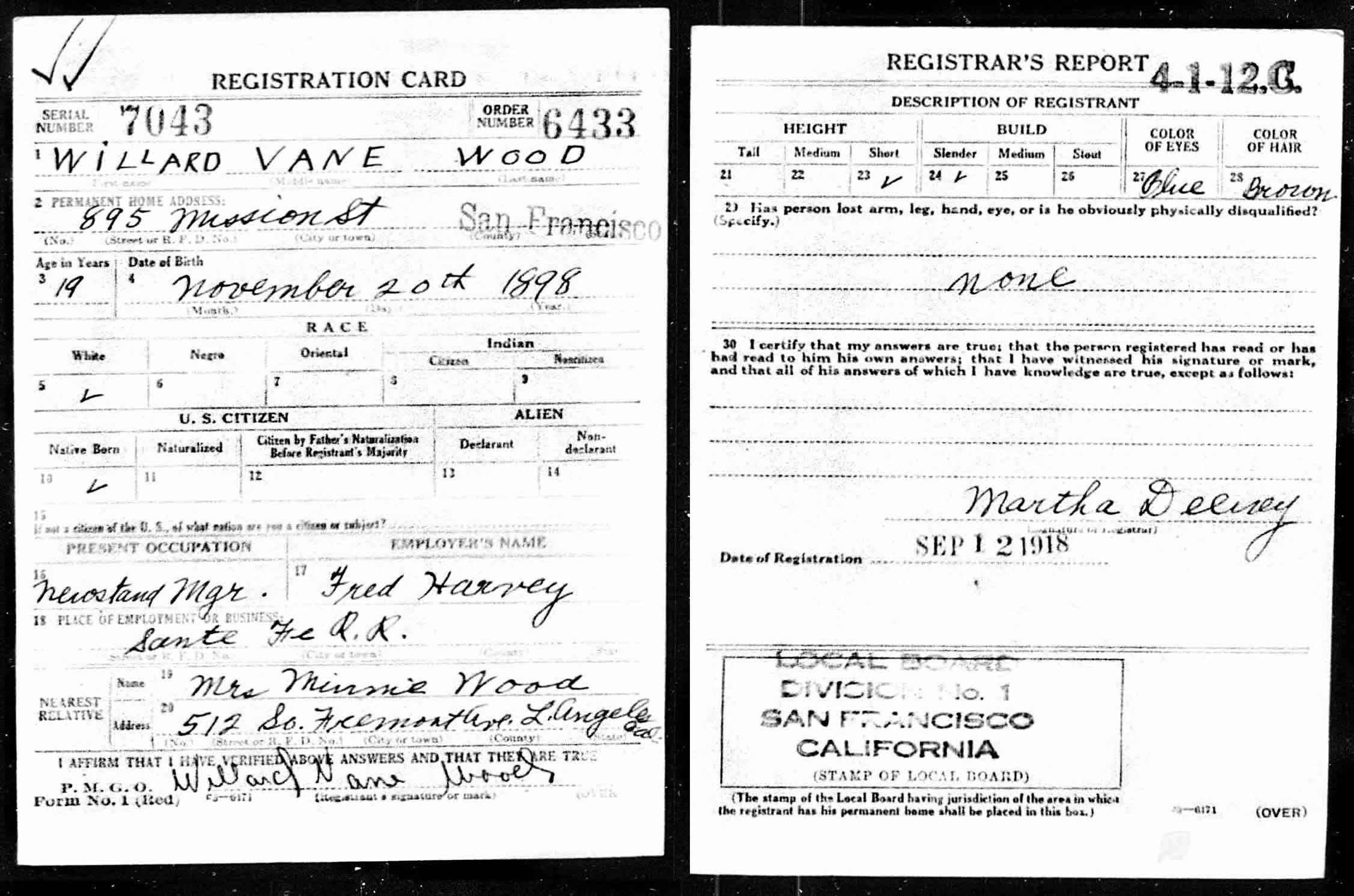 World War I draft registration of Willard Wood