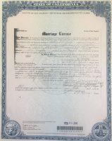 Los Angeles marriage certificate of Willard Wood and Lucille Alvarado