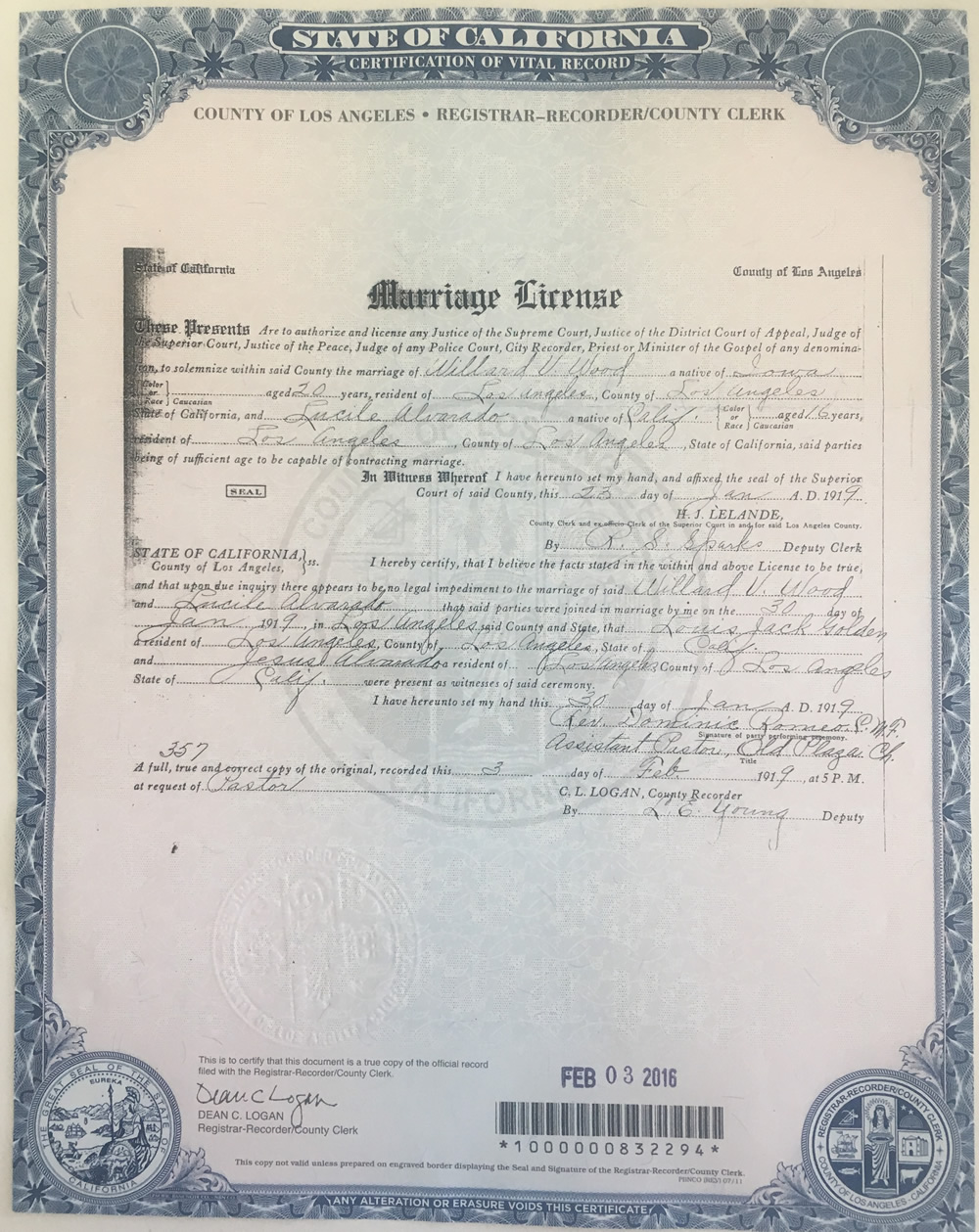Where in the world was willard wood stoltz family genealogy los angeles marriage certificate of willard wood and lucille alvarado aiddatafo Gallery