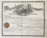 Santa Ana marriage certificate of Willard Wood and Cora Donaldson