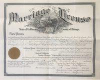 Santa Ana marriage certificate of Willard Wood and Cora Donaldson