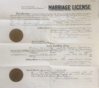 San Francisco marriage certificate of Willard Wood and Cora Donaldson