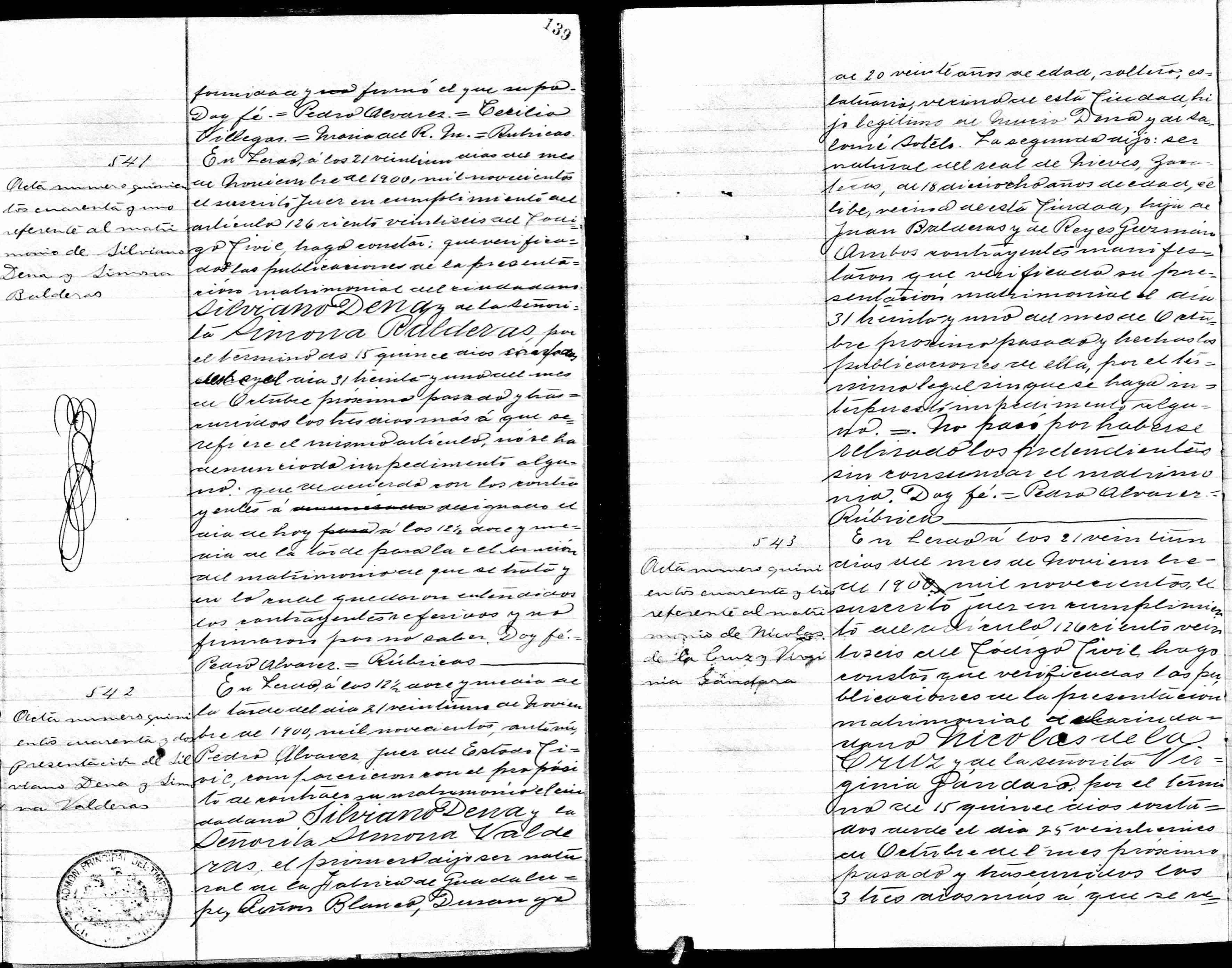 Lerdo marriage record of Silviano Dena and Simona Balderas