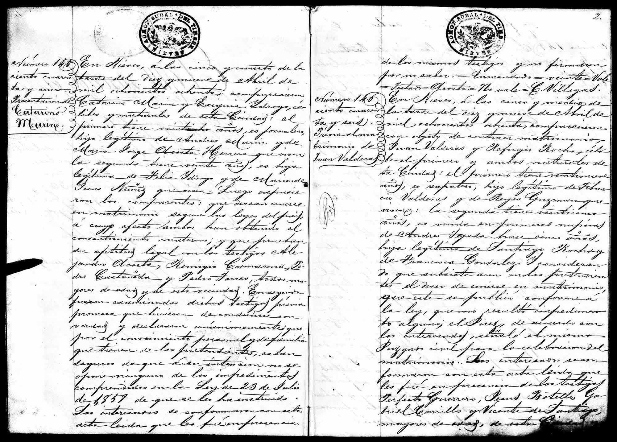 Nieves marriage record for Juan Balderas and Refugio Rocha, #146