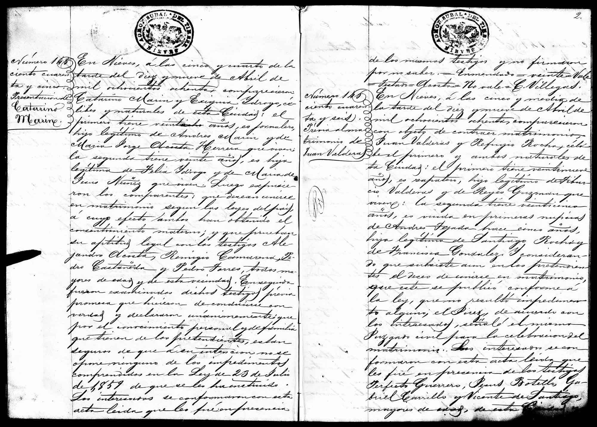 Nieves marriage record for Juan Balderas and Refugio Rocha, #146