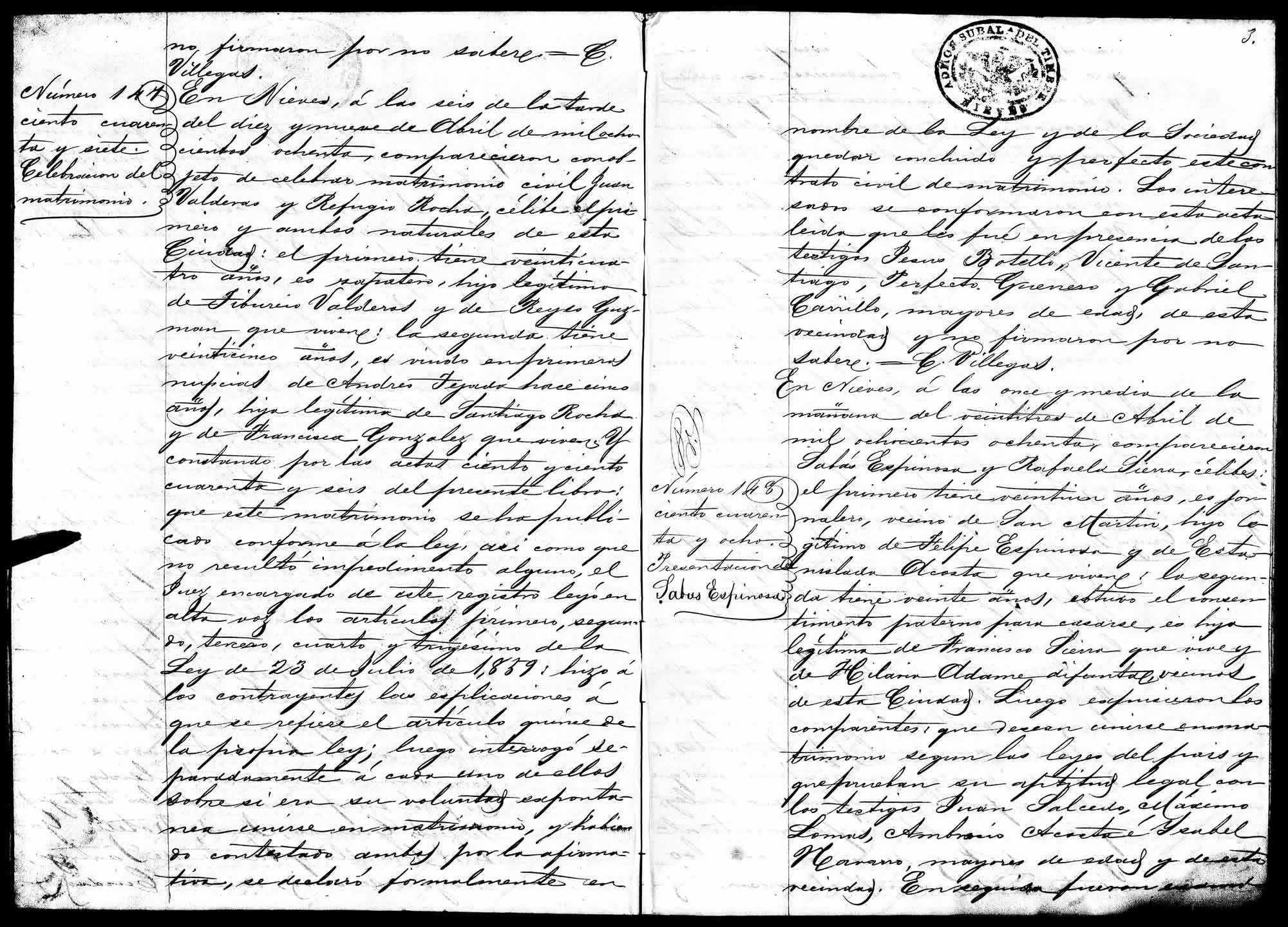 Nieves marriage record for Juan Balderas and Refugio Rocha, #147