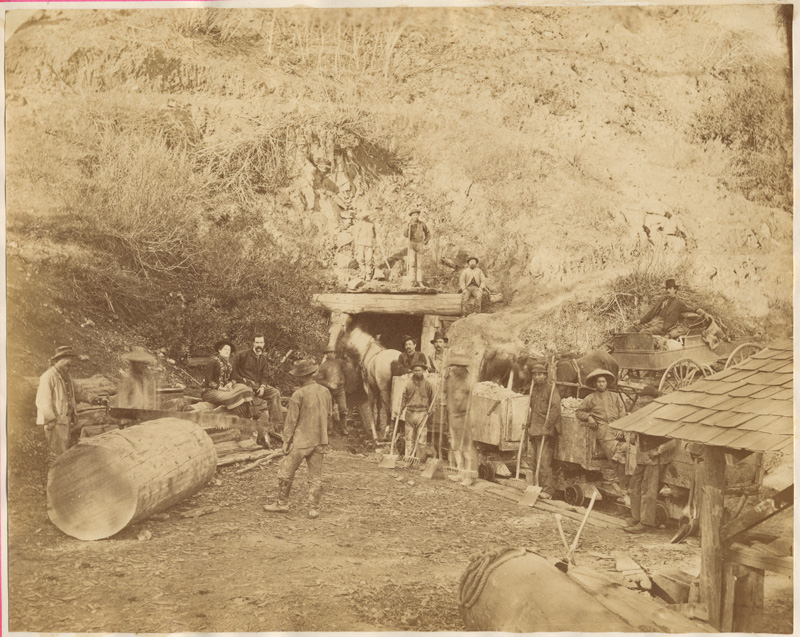 Great Western Quicksilver Mining Company, Mouth of No 9 tunnel, 10 December 1879, by Abraham Halsey and R.M. Wilson ; A. Hossack, artist. Plate No. 9, Courtesy California State Library