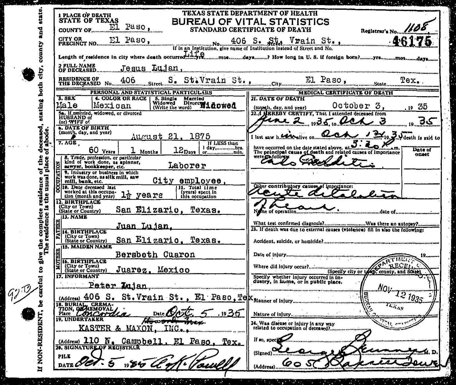 Death Certificate of Jesus Luján (1875-1935)