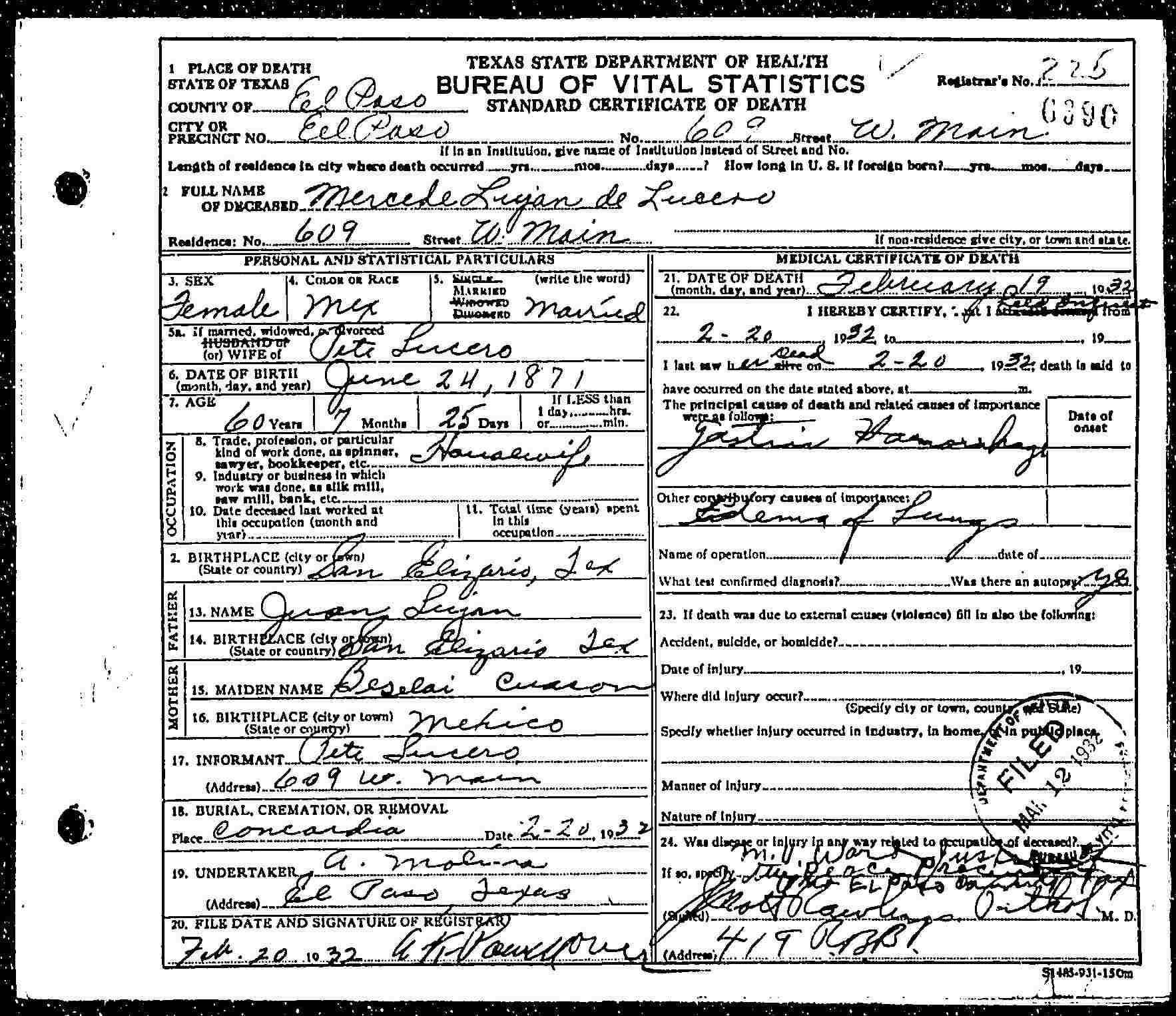 Death Certificate of Mercedes (Luján) Lucero (1871-1932)