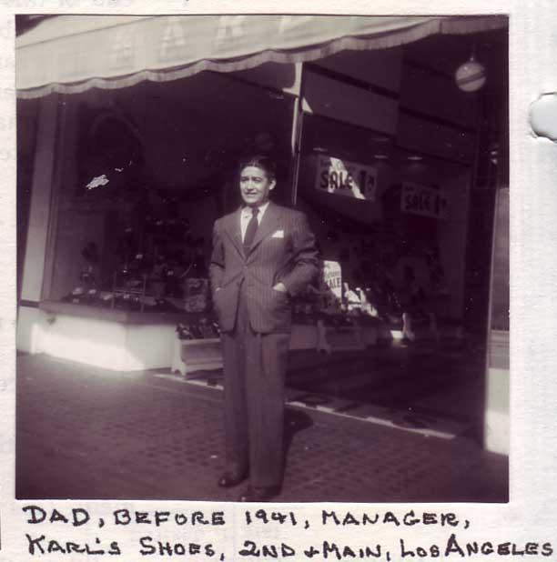 Frank Hernandez (1902 – 1974) in front of his shoe store