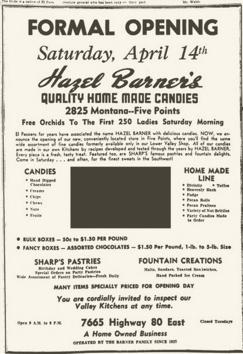 1951 newspaper ad for Hazel Barner candies
