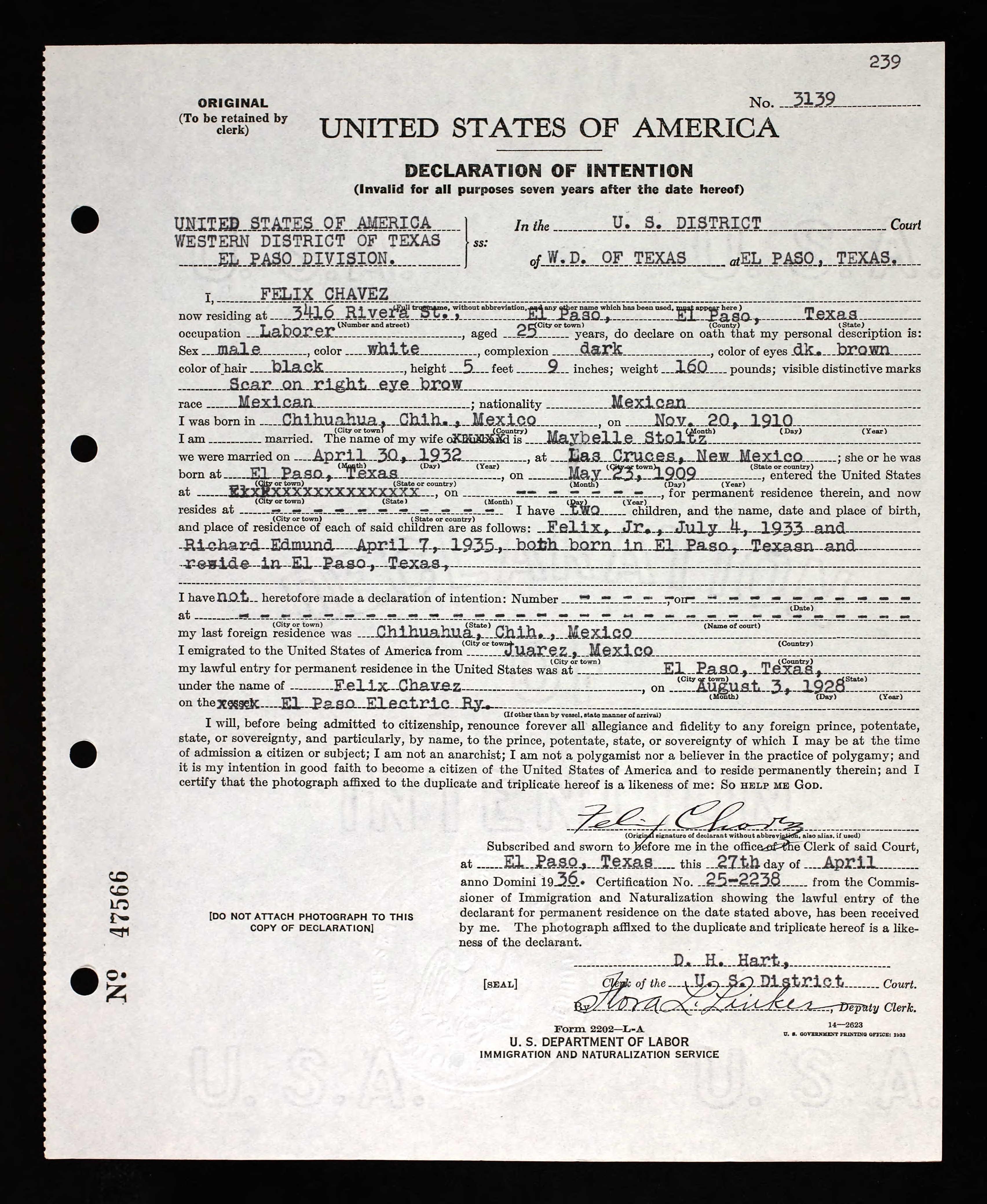 Declaration of Intention for Citizenship for Felix Chavez