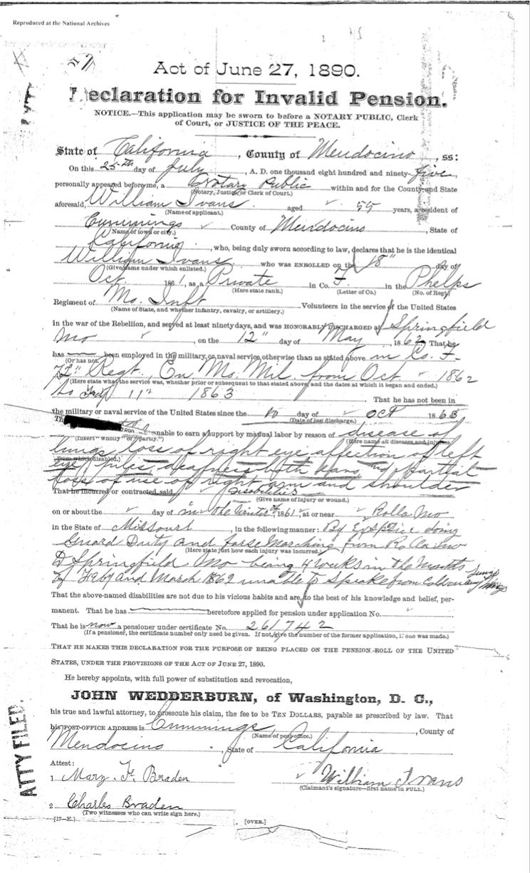 William Ivans pension document 2a